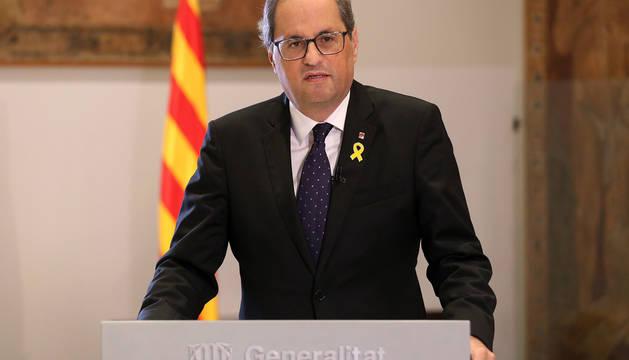 Quim Torra, durante el discurso institucional en el Palau de la Generalitat.