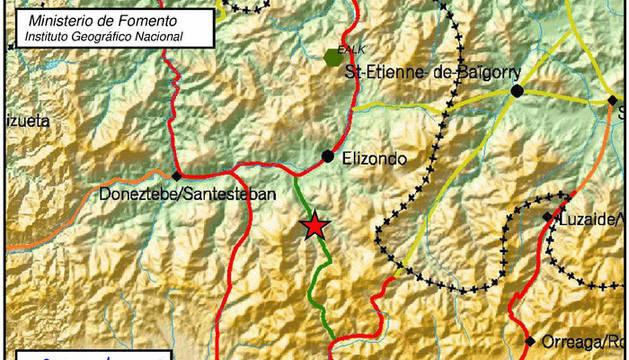 Imagen del Instituto Geográfico Nacional con uno de los dos terremotos señalados en Elizondo.