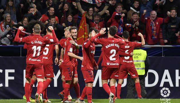 Celebración del gol de Juan Villar.