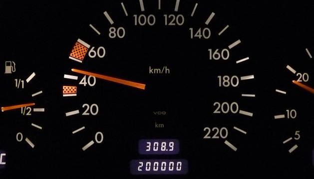 Cuentakilómetros de un vehículo.