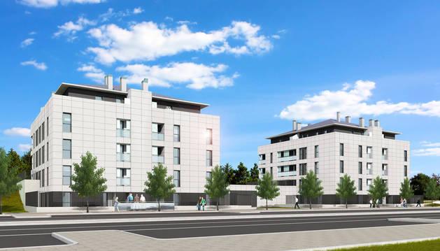 Recreación arquitectónica de dos bloques de pisos destinados a alquiler social que se han empezado a construir en  Entremutilvas.