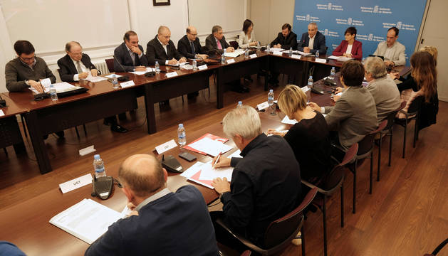 Imagen de la reunión del CES que distribuyó ayer el Gobierno de Navarra al término de la sesión.