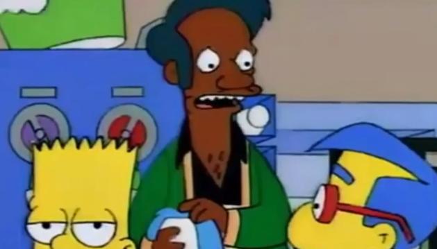 Apu, en una escena de la serie junto a Bart y Hilhouse