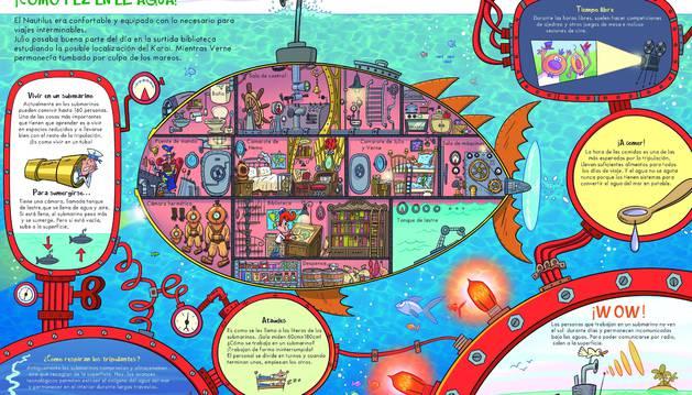 Una de las ilustraciones del libro 'Julio y Verne descubren el fondo del mar', del pamplonés José Ángel Labari.