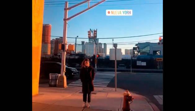 Amaia Romero, en la ciudad de Nueva York, en una imagen extraída de un vídeo que publicó en su cuenta de Instagram.