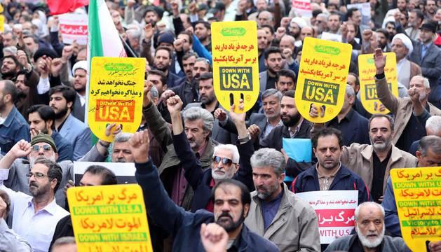 Manifestación en Teherán contra las sanciones impuestas por EE UU.