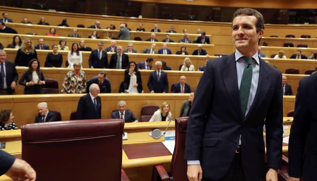 El presidente del Partido Popular, Pablo Casado, durante la reunión del Grupo Popular en el Senado