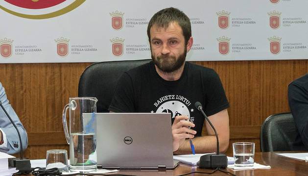 Koldo Leoz, en un reciente pleno de la Corporación de Estella.