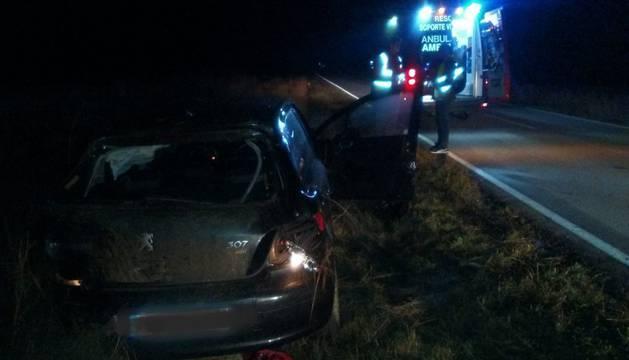 El vehículo accidentado en Pitillas