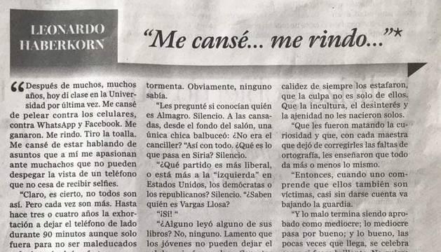 La carta del profesor uruguayo.
