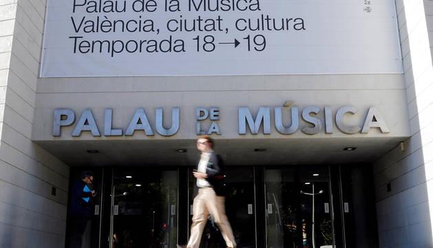 Vista general del Palau de la Música que acogerá el espectáculo del humorista Dani Mateo a partir del ofrecimiento del alcalde de Valencia, Joan Ribó, tras la cancelación del Teatro Olympia.
