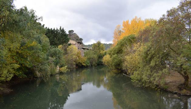 El río Ega a su paso por Estella, entre el Santo Sepulcro y la antigua fábrica de Renolit, donde ha aparecido el cuerpo.