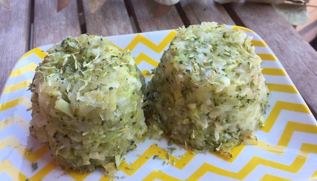 Plato de flanes de brocóli y patata.
