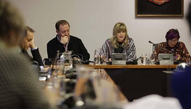 La consejera Ana Ollo y Mikel Arregi (Instituto Navarro del Euskera), en una comisión parlamentaria.