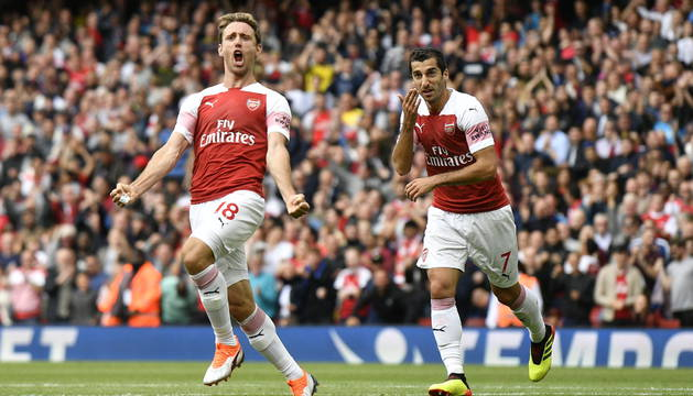Nacho Monreal celebra el gol que marcó al comienzo de temporada al West Ham. El año pasado marcó seis.
