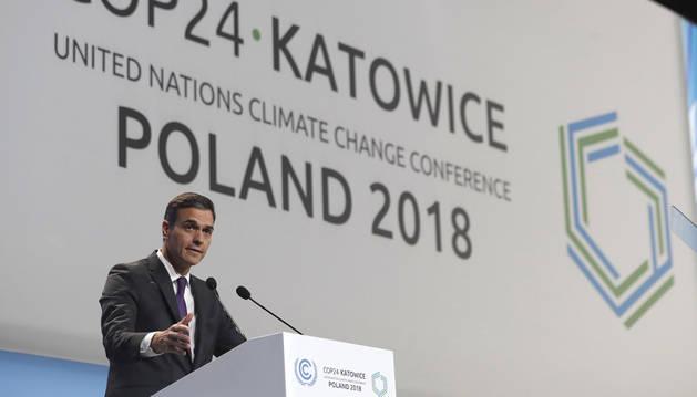 El presidente del Gobierno español, Pedro Sánchez, durante su intervención en la sesión inaugural de la Cumbre del Clima.