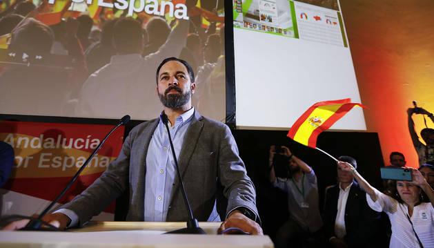 Santiago Abascal, dirigente de VOX, en la noche de las elecciones andaluzas.