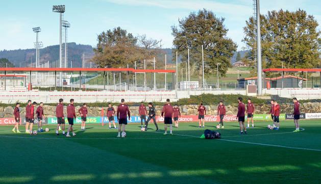 Iribarren, entrenando con el Athletic.