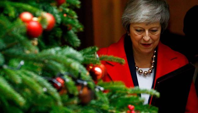 Theresa May, a la salida del 10 de Downing Street este martes.