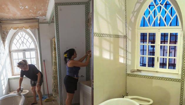 EL ANTES Y EL DESPUÉS DEL BAÑO. En la fotografía de la izquierda, las voluntarias Inma Ciriza Marco y Pili Jiménez Pacheco se afanan por recuperar el baño de la fortaleza de Cortes. A la derecha, aspecto final de la restauración de esta estancia.