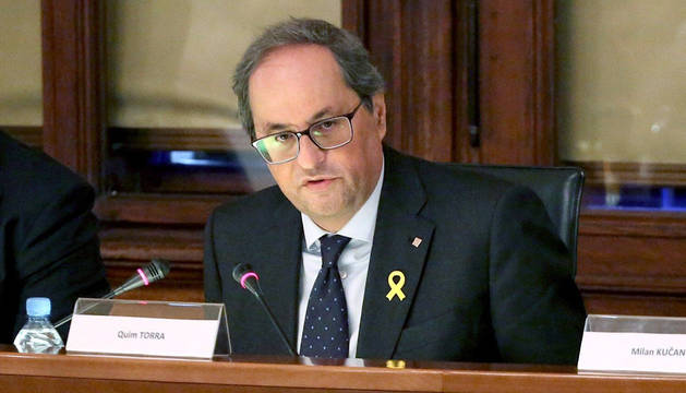 El presidente de la Generalitat, Quim Torra, durante su viaje a Ljubljana.