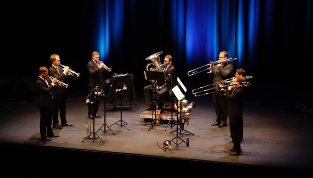 Foto del grupo británico Septura durante el concierto en el Centro Kulturgunea de Tafalla.
