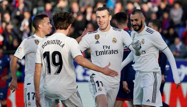 Bale celebra el único gol del partido.