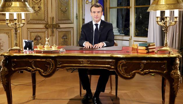 El presidente francés, Emmanuel Macron, durante el discurso pronunciado desde el Palacio Elíseo donde anunció las medidas.