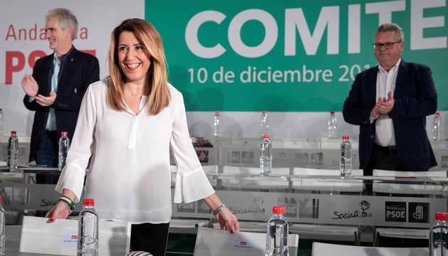 La secretaria general del PSOE-A y presidenta andaluza en funciones, Susana Díaz, en el inicio del Comité