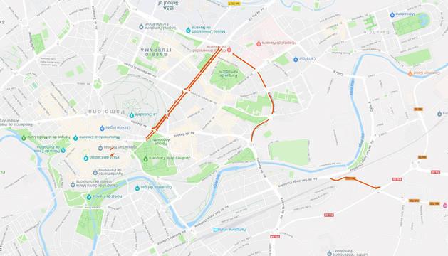 Mapa con los cortes de tráfico previstos para este martes, 11 de diciembre, en Pamplona.