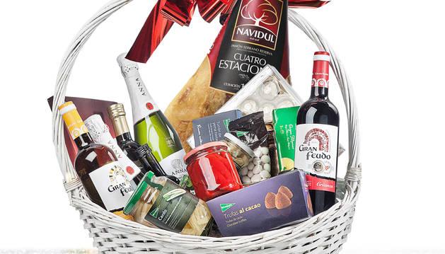 Foto de una representación de la cesta y sus productos.