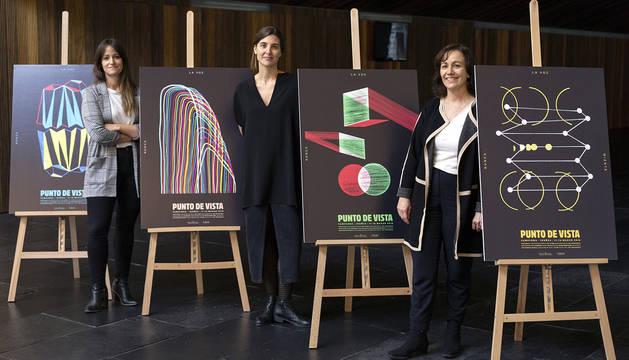 Teresa Morales de Álava, directora ejecutiva de Punto de Vista, Garbiñe Ortega, directora artística de Punto de Vista y Ana Herrera, Consejera de Cultura