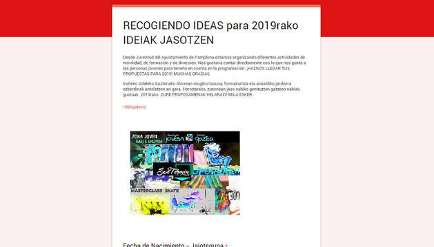 Portal web con el formulario donde enviar las ideas.