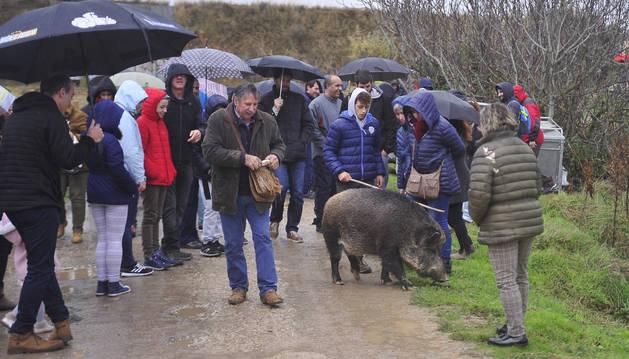 La lluvia fue protagonista este domingo en Navarra y marcó actos como la Feria de la trufa en Orísoain, en la imagen.