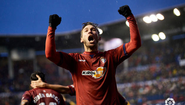 Xisco celebra el gol del empate