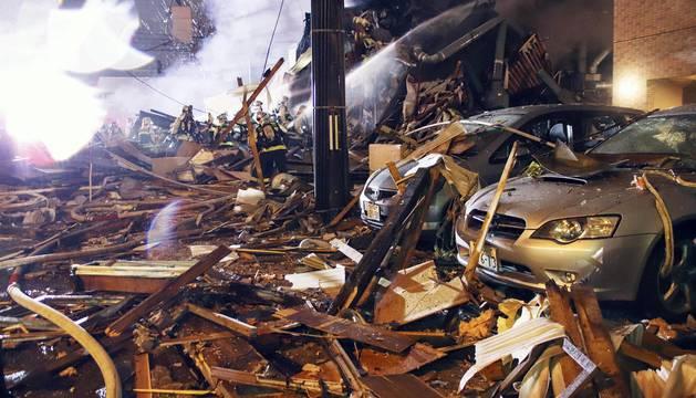 La explosión ha destruido por completo el edificio donde se encontraba el restaurante