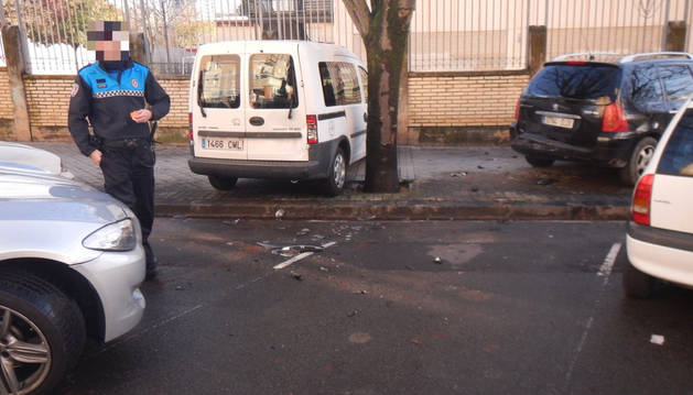 Foto de uno de los accidentes de este fin de semana en Pamplona.