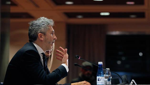El ministro del Interior, Fernando Grande-Marlaska, durante una conferencia en Valencia.