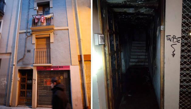A la izquierda, el bloque, en San Lorenzo, 8. A la derecha, el portal, con cuantiosos daños.