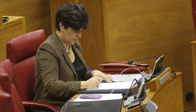 La consejera María Solana toma notas durante un pleno del Parlamento.