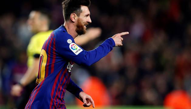Leo Messi celebra el segundo gol del partido.