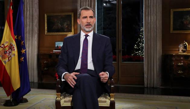 Don Felipe durante el tradicional discurso navideño de 2018.