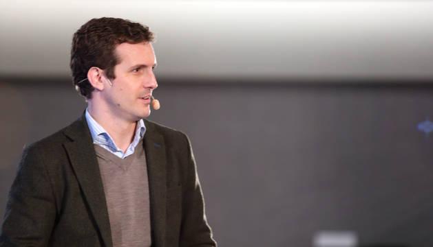 El presidente del PP, Pablo Casado, presenta los candidatos del PP en Navarra.