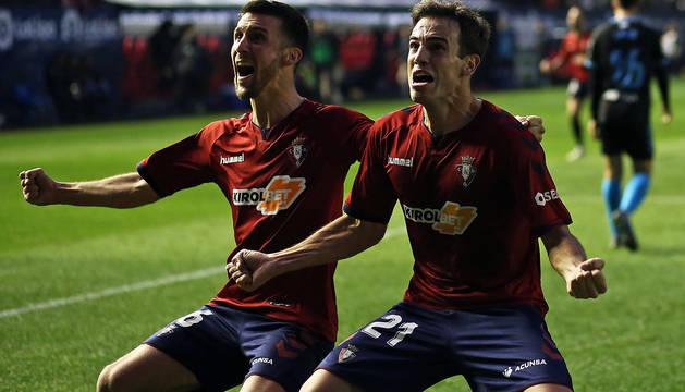Oier e Iñigo Pérez celebran el gol marcado al Lugo esta temporada en los instantes finales. Ha sido una de las imágenes del año.