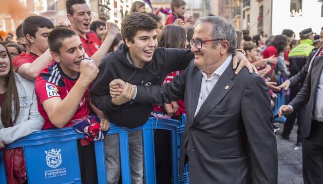 Sabalza, celebrando el ascenso a Primera en 2016.