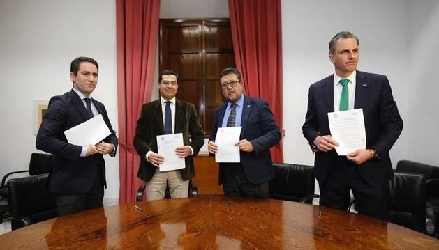Teodoro Garía Egea, Juanma Moreno, Francisco Serrano y Javier Ortega Smith.