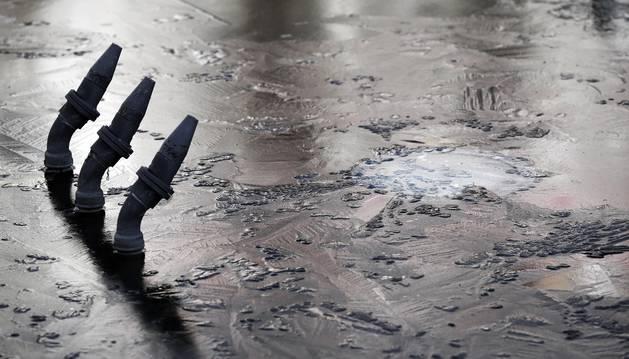 Agua congelada en una fuente de Pamplona, en una imagen de diciembre de 2017.