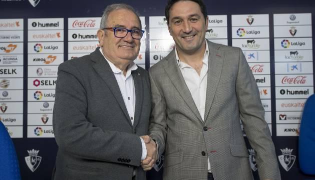 El presidente de Osasuna, Luis Sabalza, y el director deportivo, Braulio Vázquez.