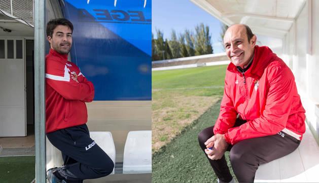 Rodrigo Hernando y José María Lumbreras, entrenadores del Izarra y del Tudelano.