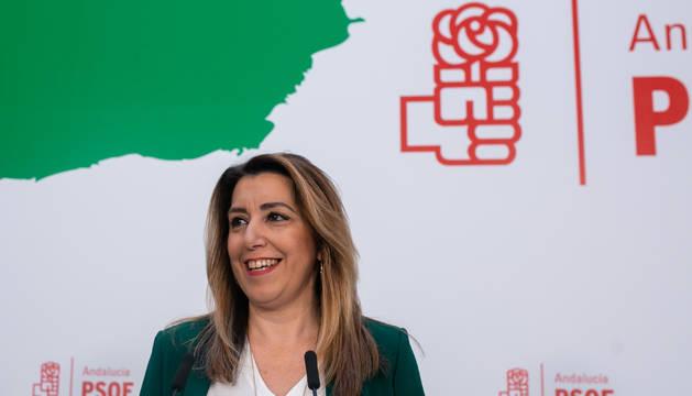 Rueda de prensa de la secretaria general del PSOE-A y presidenta de la Junta en funciones, Susana Díaz